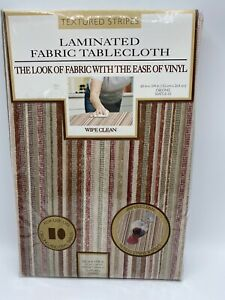 Laminated Fabric Tablecloth 60 in X 104 in Beige Stripe Vinyl Oblong Table New