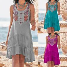 Women Summer Casual A-line Sleeveless T Shirt Crew Neck Floral Loose Tank Dress