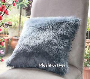 18x18 luxurious faux fur pillow sofa bed fur cushion decor modern luxury pillows