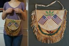 Large 1905 Native American Athabaskan Moose Hide Beaded Bag