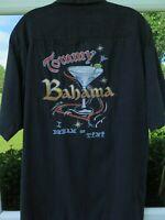 Tommy Bahama Silk Black Embroidered I Dream Of Tini Hawaiian Camp Shirt Small