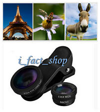 Black 3 In1 Lens Clip Kit Macro Wide Angle Fish Eye Set for iPhone Android Phone