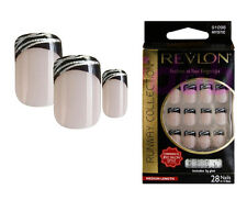 REVLON RUNWAY FALSE NAILS TIPS FRENCH BLACK & SILVER MEDIUM LENGTH MYSTIC 91098