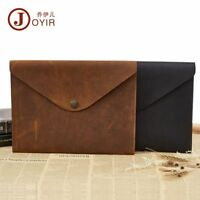 Men Crazy Horse Leather Envelope Clutch A4 Document Business Wallet Notebook