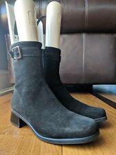 La Canadienne Womens Black Suede Fleece Lines Buckle Boot Size 8.5 M