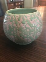 Vintage McCoy USA Floral Planter Bowl Art Pottery Green and Pink Brocade