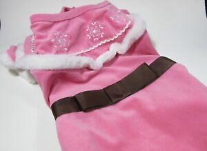 Pink Velvet Victorian Edwardian Lady Coat Bow DOG Costume XL Snowflake Halloween