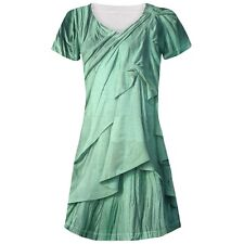 Statue of Liberty Lady Costume All Over Juniors V-Neck Dress
