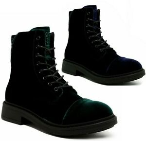 WOMENS LADIES BLUE GREEN LACE UP ZIP PUNK BIKER COMBAT ARMY MILITARY ANKLE BOOTS