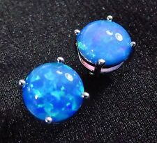 Sterling 925 Silver SF Post Earrings 8mm Round Ocean Blue Lab Fire Opal Cabochon