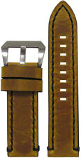 22mm Panatime Distressed Saddle Leather Watch Band w/ Black Stitch 22/22 125/75