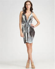 DVF Diane Von Furstenberg MILTON Draped Knit Watercolor Tunic Dress Grey 6 $495