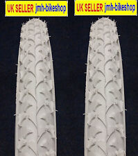 """Pair of 18 inch white bicycle tyres and tubes 18 x 2.125 18"""""""