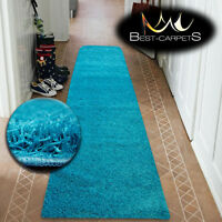 Modern Hall Runners soft SHAGGY Carpet 5cm turquoise Width 50-200cm long RUGS