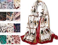 100% Silk Satin Women Scarf neckerchief Shawl Wrap ladies brown red S287-008