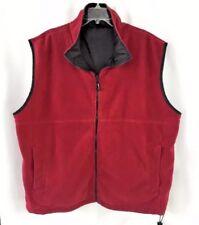 Men XXL Sierra Fleece Vest Red Polar Reversible Black Nylon Drawstring Bottom