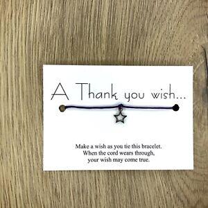 A thank you wish bracelet charm friendship gift birthday card him her wedding