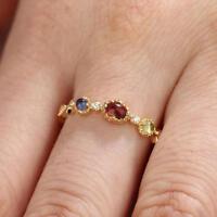 Oval Cut Red Garnet & Diamond 14k Yellow Gold Over Three Stone Fashion Band Ring