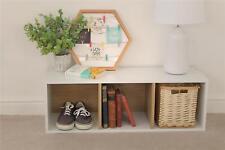 White Oak Wood 3 Tier Shelf Cube Storage Unit Display Bookcase Furniture