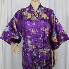 Solz Squirrel Purple Multi-Colored Flowers Kimono Robe with Belt