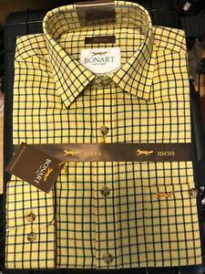 Yellow Checked Long Sleeved Malton Bonart Country Shirt
