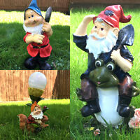 Small Garden Gnome Frog Statue Ornament Patio Flowerbed Decoration