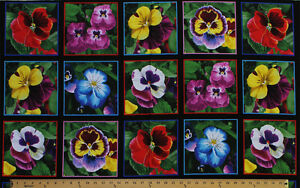"""23.5"""" X 44"""" Panel Lovely Pansies Pansy Flowers Black Cotton Fabric Panel D587.33"""