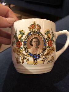 Vintage 1950s Empire England Royal Coronation Mug - Queen Elizabeth II, 1953