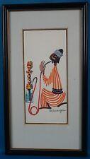 """Pola Weizman """"Man Smoking Water Tobacco"""" Original Painting on Panel"""