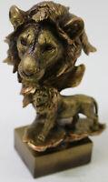 Cold Cast Bronze Male African Lion Wildlife Animal Sculpture Home Decoration Art