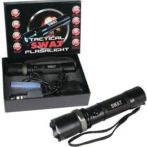 SWAT Tactical 3W CREE 120 Lumens Rechargeable LED Flashlight Battery + Chargers