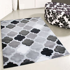 Moderner Teppich Kurzflor Grau Schwarz Konturenschnitt Wohnzimmer Designer NEU