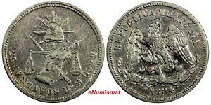 MEXICO Silver 1884 HO M 25 Centavos Hermosillo Mint KM#406.6 (19 136)