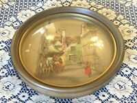 Victorian Look Horse & Buggy on Street Convex Bubble Glass Round Brown Frame 9""