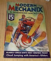 Modern Mechanix & Inventions Magazine March 1936 worm drive sled ALASKA