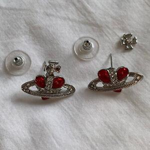 Vivienne Westwood Enamel & Swarovski Crystal Red Heart Orb Earrings needs repair