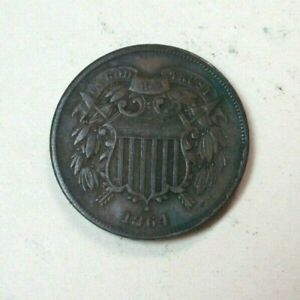 1864 2 Cent Piece Coin - Two Cent Piece