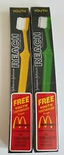 Vintage Reach Toothbrush Youth Lot of 2 New Green and Yellow