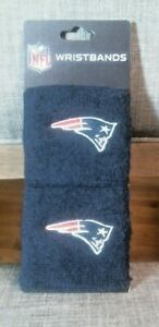 Pair of New England Patriots NFL Blue Embroidered Wristbands, New on card