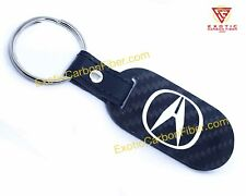 Acura White Logo and Script Carbon Fiber Key Fob 2x2 Gloss
