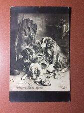 Antique Russian postcard pre 1917 Chien Dog Dachshund Setter after hunting Gun