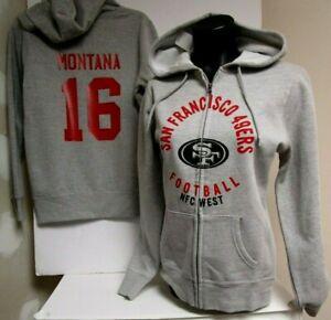 JOE MONTANA SAN FRANCISCO 49ERS WOMANS HOODY SIZE MED LG XL XXL