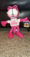 """Nanco Pink Garfield Cat Stuffed Plush Animal Toy 13"""" """"I'm Tickled Pink"""" with Tag"""