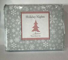 Twin Sheet 3 Pc Set Holiday Snowflake Gray Grey and White NIP