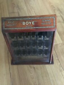 Antique Boye Sewing Needles Wood & Store Display ORIGINAL Excellent Condition