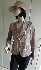 Blazer DKNY Donna Karan New York taille 38 taille 40 marron beige à carreaux véritable corne