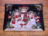 "Christmas Tapestry Snowmen Fiber Optic wall hanging 26"" x 36"" Snowman"