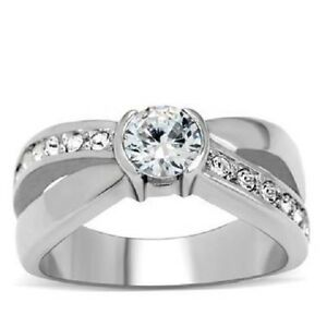 Women's Stainless Steel Round CZ Ring Size 5-10 Engagement Ring Band Wedding 214