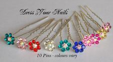 Hair Pin Accessory Crystal Rhinestone MIX COLOUR Flower Hairpin Bridal x 10