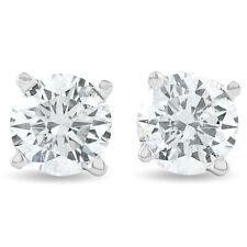 1.25 ct ronda diamante Pendientes Zarcillos en Oro Blanco O Amarillo 14K